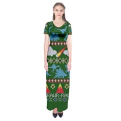 My Grandma Likes Dinosaurs Ugly Holiday Christmas Green Background Short Sleeve Maxi Dress