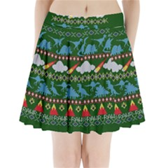 My Grandma Likes Dinosaurs Ugly Holiday Christmas Green Background Pleated Mini Skirt
