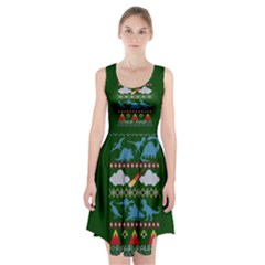 My Grandma Likes Dinosaurs Ugly Holiday Christmas Green Background Racerback Midi Dress