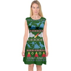 My Grandma Likes Dinosaurs Ugly Holiday Christmas Green Background Capsleeve Midi Dress