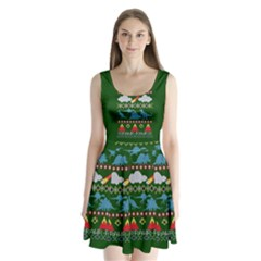 My Grandma Likes Dinosaurs Ugly Holiday Christmas Green Background Split Back Mini Dress