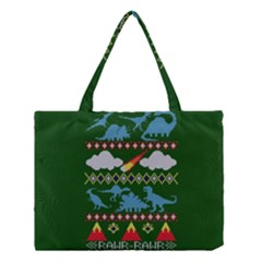 My Grandma Likes Dinosaurs Ugly Holiday Christmas Green Background Medium Tote Bag
