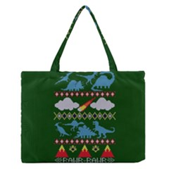 My Grandma Likes Dinosaurs Ugly Holiday Christmas Green Background Medium Zipper Tote Bag