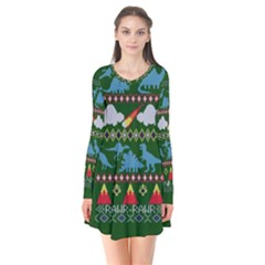 My Grandma Likes Dinosaurs Ugly Holiday Christmas Green Background Flare Dress