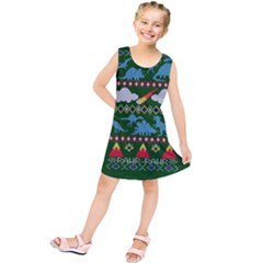 My Grandma Likes Dinosaurs Ugly Holiday Christmas Green Background Kids  Tunic Dress