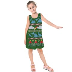 My Grandma Likes Dinosaurs Ugly Holiday Christmas Green Background Kids  Sleeveless Dress