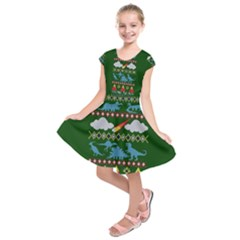 My Grandma Likes Dinosaurs Ugly Holiday Christmas Green Background Kids  Short Sleeve Dress