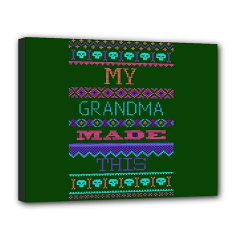 My Grandma Made This Ugly Holiday Green Background Canvas 14  x 11