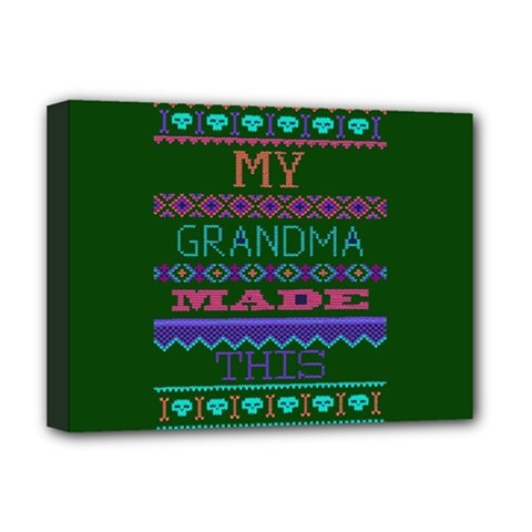 My Grandma Made This Ugly Holiday Green Background Deluxe Canvas 16  x 12