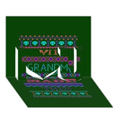 My Grandma Made This Ugly Holiday Green Background I Love You 3D Greeting Card (7x5)