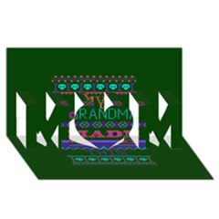 My Grandma Made This Ugly Holiday Green Background MOM 3D Greeting Card (8x4)