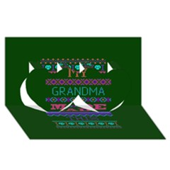 My Grandma Made This Ugly Holiday Green Background Twin Hearts 3D Greeting Card (8x4)