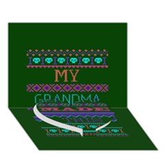 My Grandma Made This Ugly Holiday Green Background Heart Bottom 3D Greeting Card (7x5)
