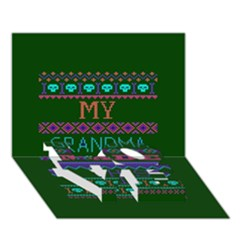 My Grandma Made This Ugly Holiday Green Background LOVE Bottom 3D Greeting Card (7x5)