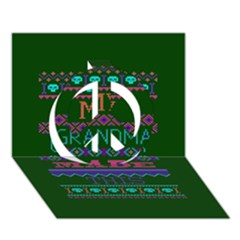 My Grandma Made This Ugly Holiday Green Background Peace Sign 3D Greeting Card (7x5)