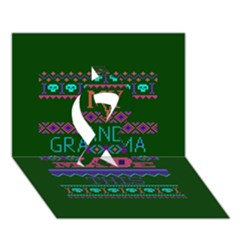 My Grandma Made This Ugly Holiday Green Background Ribbon 3D Greeting Card (7x5)