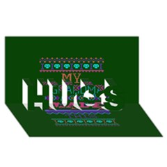 My Grandma Made This Ugly Holiday Green Background HUGS 3D Greeting Card (8x4)