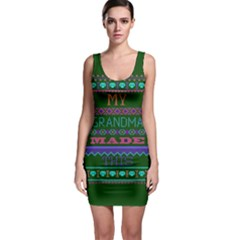 My Grandma Made This Ugly Holiday Green Background Sleeveless Bodycon Dress