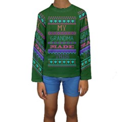 My Grandma Made This Ugly Holiday Green Background Kids  Long Sleeve Swimwear