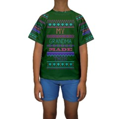 My Grandma Made This Ugly Holiday Green Background Kids  Short Sleeve Swimwear