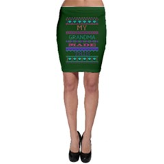 My Grandma Made This Ugly Holiday Green Background Bodycon Skirt