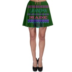 My Grandma Made This Ugly Holiday Green Background Skater Skirt