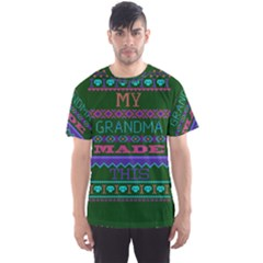 My Grandma Made This Ugly Holiday Green Background Men s Sport Mesh Tee