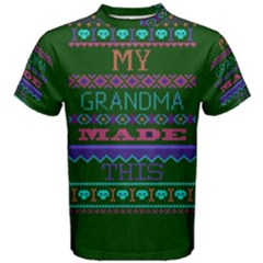 My Grandma Made This Ugly Holiday Green Background Men s Cotton Tee