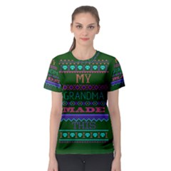 My Grandma Made This Ugly Holiday Green Background Women s Sport Mesh Tee