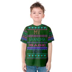 My Grandma Made This Ugly Holiday Green Background Kids  Cotton Tee