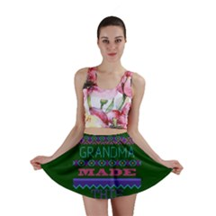 My Grandma Made This Ugly Holiday Green Background Mini Skirt
