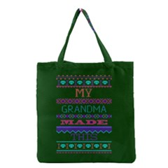 My Grandma Made This Ugly Holiday Green Background Grocery Tote Bag