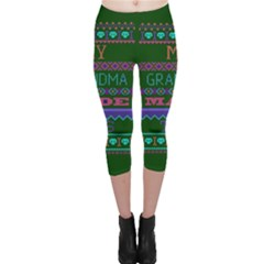 My Grandma Made This Ugly Holiday Green Background Capri Leggings