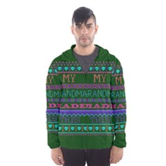 My Grandma Made This Ugly Holiday Green Background Hooded Wind Breaker (Men)