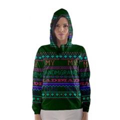 My Grandma Made This Ugly Holiday Green Background Hooded Wind Breaker (Women)