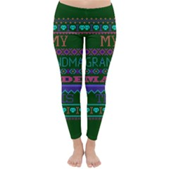 My Grandma Made This Ugly Holiday Green Background Classic Winter Leggings
