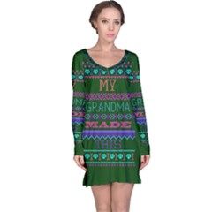 My Grandma Made This Ugly Holiday Green Background Long Sleeve Nightdress