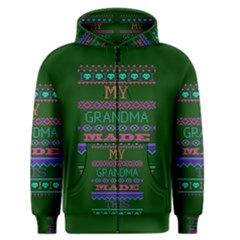 My Grandma Made This Ugly Holiday Green Background Men s Zipper Hoodie