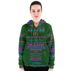 My Grandma Made This Ugly Holiday Green Background Women s Zipper Hoodie