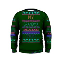 My Grandma Made This Ugly Holiday Green Background Kids  Sweatshirt