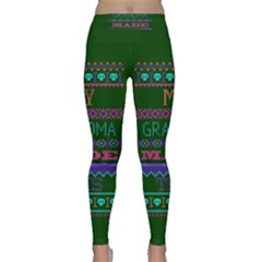 My Grandma Made This Ugly Holiday Green Background Classic Yoga Leggings
