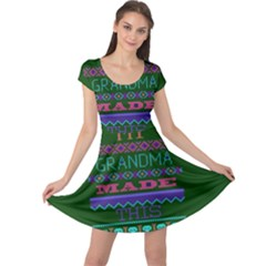 My Grandma Made This Ugly Holiday Green Background Cap Sleeve Dresses