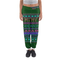 My Grandma Made This Ugly Holiday Green Background Women s Jogger Sweatpants