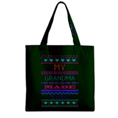 My Grandma Made This Ugly Holiday Green Background Zipper Grocery Tote Bag