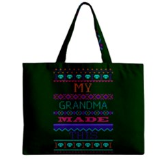 My Grandma Made This Ugly Holiday Green Background Zipper Mini Tote Bag