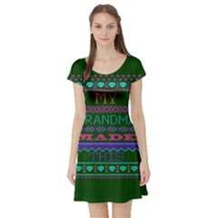 My Grandma Made This Ugly Holiday Green Background Short Sleeve Skater Dress