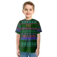 My Grandma Made This Ugly Holiday Green Background Kids  Sport Mesh Tee