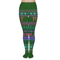 My Grandma Made This Ugly Holiday Green Background Women s Tights