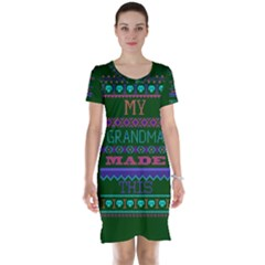 My Grandma Made This Ugly Holiday Green Background Short Sleeve Nightdress