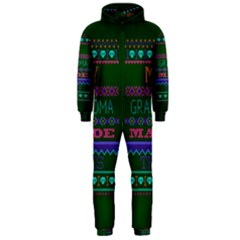 My Grandma Made This Ugly Holiday Green Background Hooded Jumpsuit (Men)